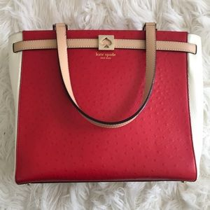 Red, white and tan leather Kate Spade Bag